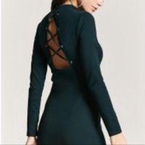 Green Long Sleeve Dress Lace Back Size Large
